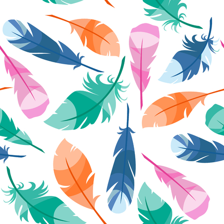 feathering: Colorful Bird Feathers seamless pattern Illustration