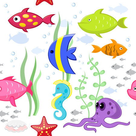 fishes: Cartoon fishes vector seamless pattern Illustration