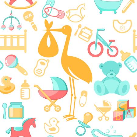 Baby, newborn accessories seamless pattern Illustration