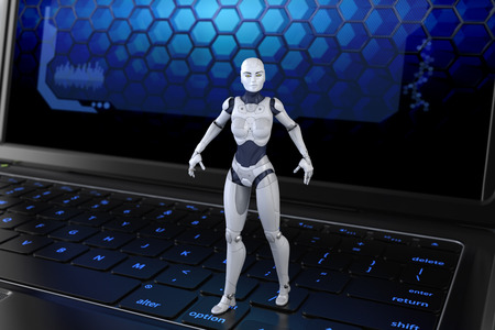 internet terminals: Robot standing on keyboard. 3D illustration Stock Photo