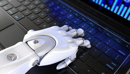 키보드의 로봇 손 유형. 3D 일러스트 레이션