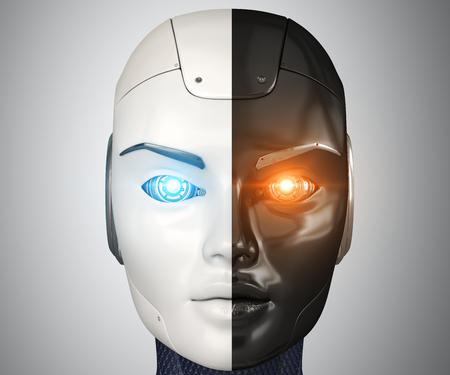 Robots head close up. 3D illustration Stock fotó