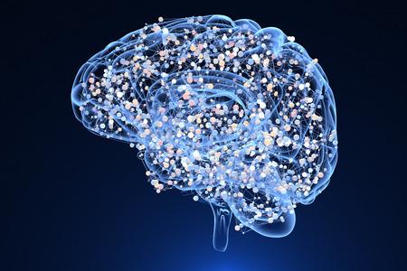 Brain activity during thinking. 3D illustration Stock Photo