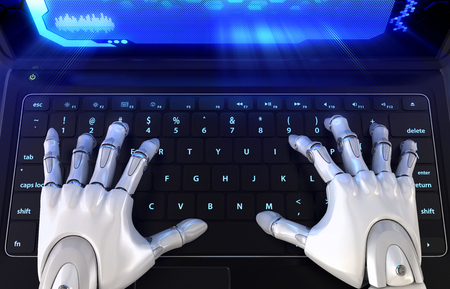 Robots hands typing on keyboard. 3D illustration Stock Photo