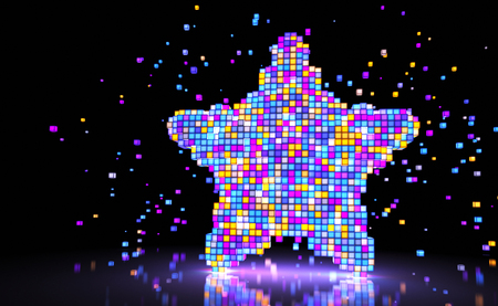 Star consisting of glowing pixels. 3D illustration