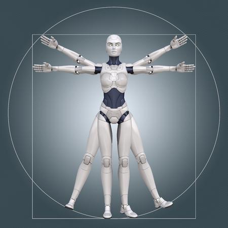 Uomo vitruviano, cyborg. Illustrazione 3D