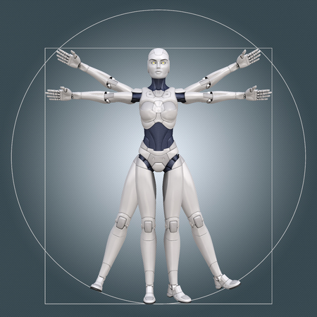 Vitruviusman, cyborg. 3D illustratie