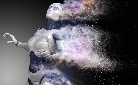 Cyborg shattered into dust. 3D illustration