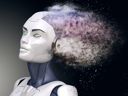 Cyborg with head shattered into dust. 3D illustration Banco de Imagens