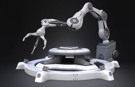 Sci-Fi Industrial robot arm.3D illustration