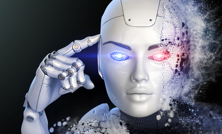 Cyborgs head shattered into a dust. 3D illustration Stock Photo