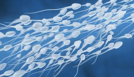 3D illustration of sperm going for the egg