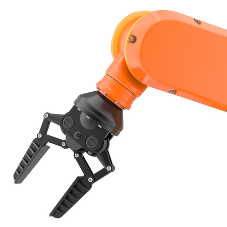 Industrial robot arm isolated on white. 3D illustration