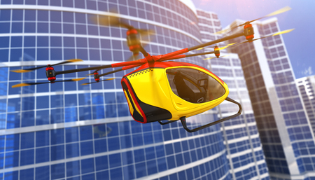 Electric Passenger Drone flying in front of buildings. This is a 3D model and doesnt exist in real life. 3D illustration 版權商用圖片
