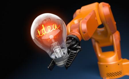Industrial robot arm holding light bulb. 3D illustration