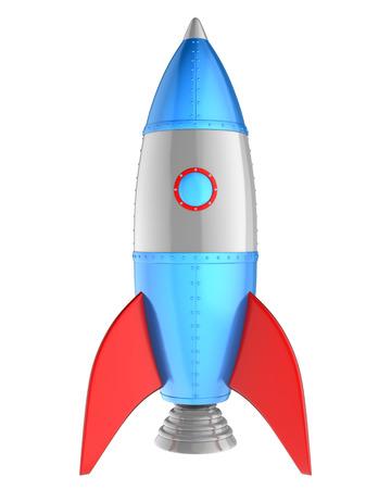 만화 로켓 화이트 절연입니다. 3D 일러스트 레이션