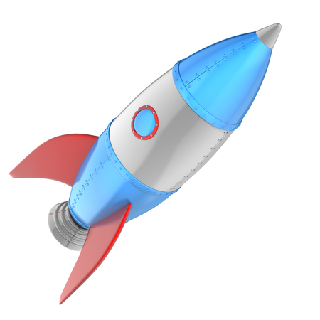 Cartoon rocket isolated on white. 3D illustration