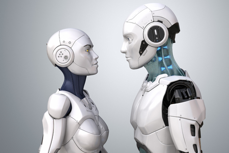Female and male robots. 3D illustration Фото со стока - 100459441