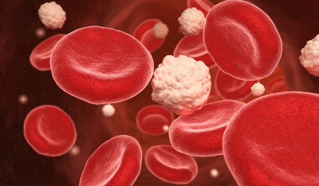 Blood cells and glucose in the vein. 3D illustration Stock fotó