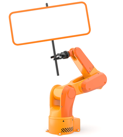 Industrial robot arm with blank sign. 3D illustration Фото со стока