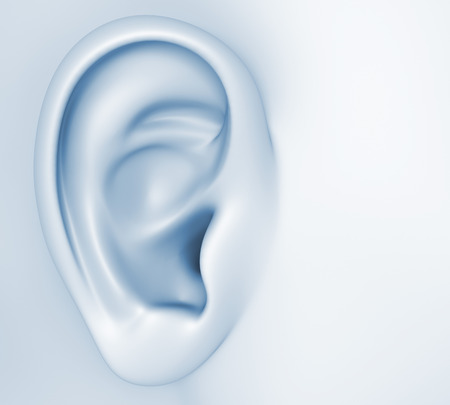 Conceptual image about human hearing.3D illustration