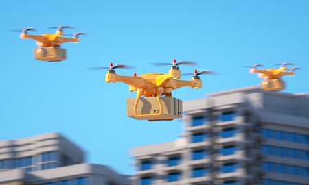 Three drones carrying a parcell. 3d illustration
