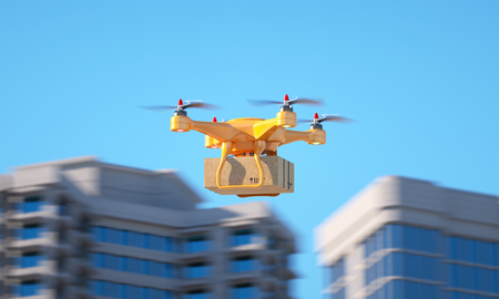 Drone carrying a parcell. 3d illustration Stok Fotoğraf