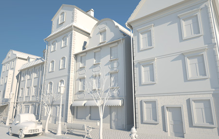 White Paper Style Old town. 3D illustration Stok Fotoğraf