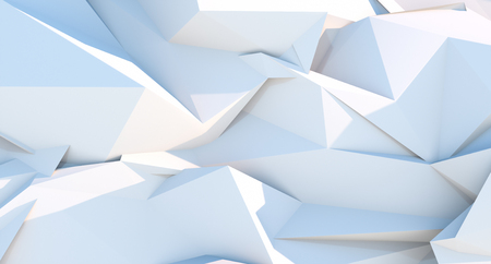 White polygonal triangle geometric background. 3D illustration