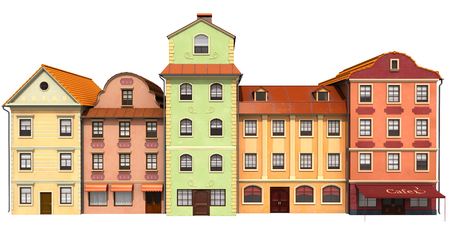 Stylized buildings to old European architecture. 3D illustration