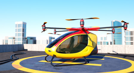 Electric Passenger Drone staying on the top of a building. This is a 3D model and doesnt exist in real life. 3D illustration