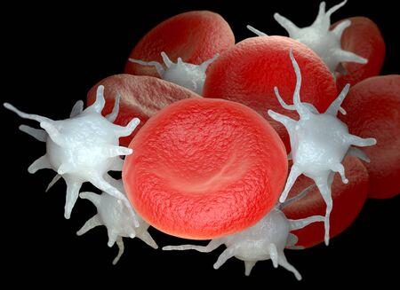 Glóbulos rojos y plaquetas o trombocitos activados. Ilustración 3D Foto de archivo