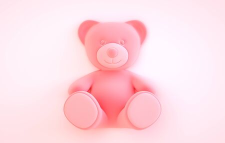Teddy bear on the pink background. 3D illustration