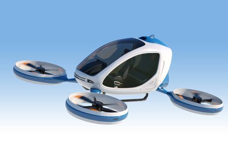 Electric Passenger Drone flying in the sky. This is a 3D model and doesnt exist in real life. 3D illustration