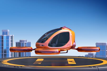 Passenger Drone landing on the top of a building. This is a 3D model and doesnt exist in real life. 3D illustration