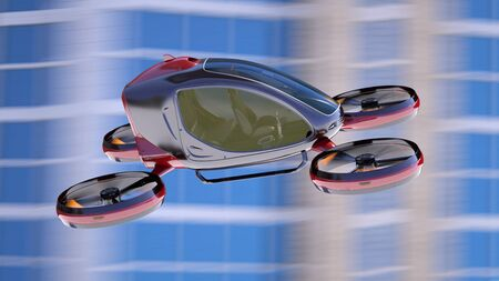 Electric Passenger Drone flying in front of buildings. This is a 3D model and doesnt exist in real life. 3D illustration Stok Fotoğraf