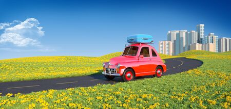Retro cartoon car with laggage on top. 3D illustration Stok Fotoğraf