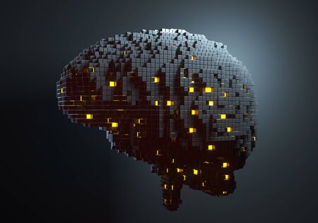 Brain consisting of blocks. Artificial intelligence concept. 3D illustration