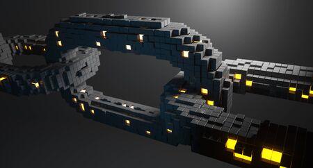 Blockchain technology concept. 3D illustration