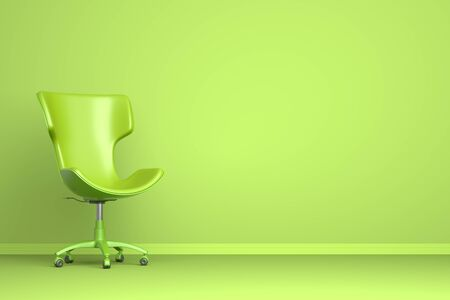 Green chair on the green background. 3D illustration