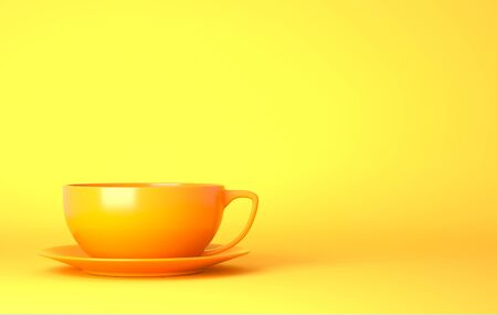 Yellow cup on the yellow background. 3D illustration