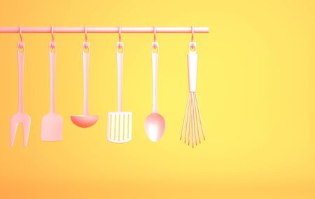 Pink Kitchenware on yellow background. 3D illustration Stok Fotoğraf