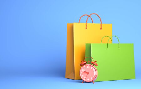 Two Shopping Bags and alarm clock. 3D illustration Stok Fotoğraf