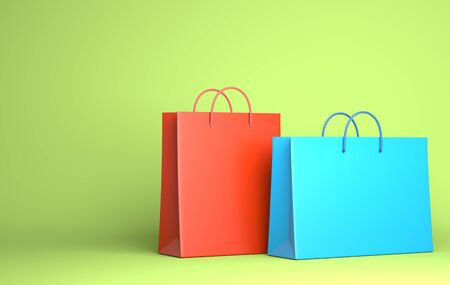 Two Empty Shopping Bags on the green. 3D illustration Stok Fotoğraf