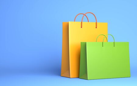 Two Empty Shopping Bags on the blue. 3D illustration Stok Fotoğraf