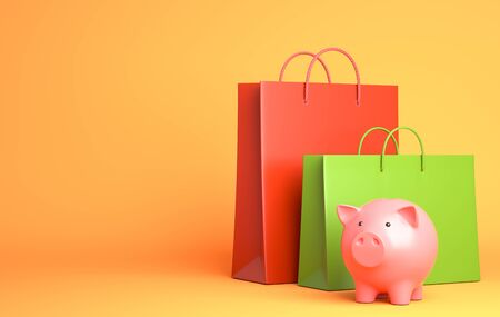 Two Shopping Bags and piggy bank. 3D illustration