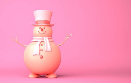 Cute snowman on the pink background. 3D illustration Stok Fotoğraf