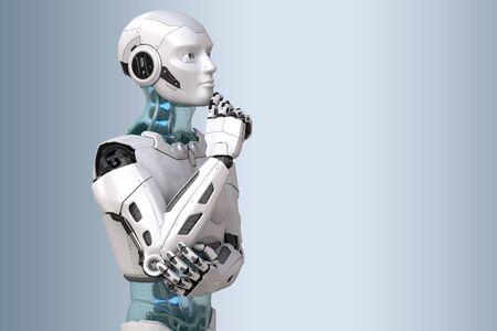 robot in a pensive pose. 3D illustration