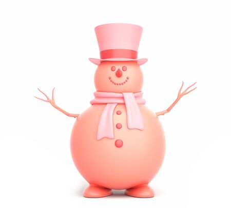 Cute snowman on the white background. 3D illustration Stok Fotoğraf