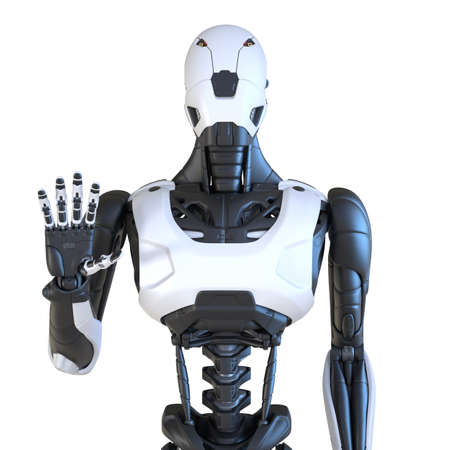 Robot gesturing with his hand. Isolated on white. 3D illustration